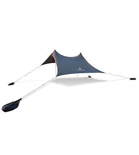Premium Lycra-Strandzelt - Pop-Up Sonnensegel für Strand & Outdoor –Sonnenschutz Strandmuschel mit Alu-Stangen und Sand-Ankern bjoern-grau (210 x 210 cm)