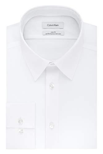 "Best no iron shirts - Calvin Klein Men's Non Iron Slim Fit Solid Point Collar Dress Shirt, White, 16.5"" Neck 32""-33"" Sleeve"