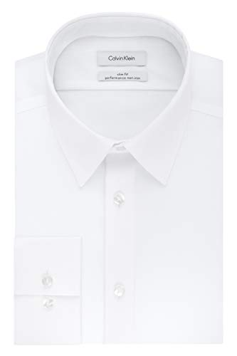 Calvin Klein Men's Non Iron Slim Fit Solid Point Collar Dress Shirt, White, 15.5' Neck 32'-33' Sleeve