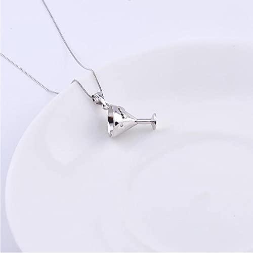 Collares de Copa de Vino Tinto de corazón a corazón de Plata de Ley 925 para Mujer, Colgantes Elegantes, joyería para niña