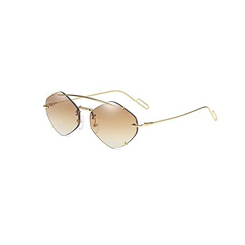 Heigmz Nvtyj Gafas de sol sin montura para hombres, marco de metal, marco de luz, se puede utilizar para ir de compras, fotografía de calle, playa (color: marrón)