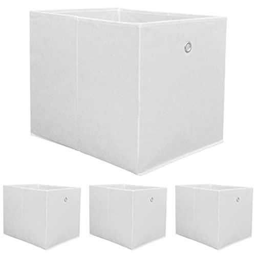 DuneDesign 4 Cajas de Almacenamiento para Kallax - 33x38x33 Cestas de Tela con Asa - Cubo Plegable