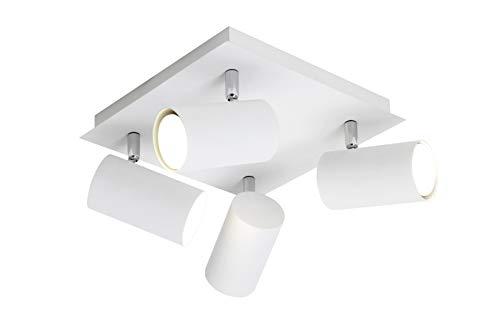 Trio Leuchten Rondell in Metall weiß, Rondel 4-flammig, exklusiv 4xGU10, 24 x 24 cm 802430401