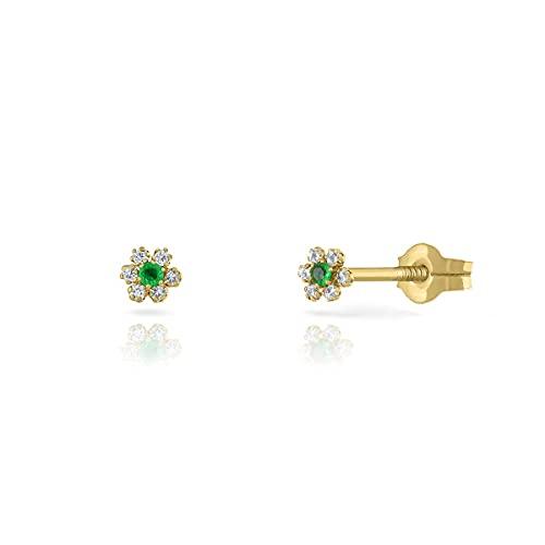 Pendientes Oro de Ley Certificado. Niña/Mujer. Diseño Estrella. Cierre de presión. Medida 4 mm. (1-3996-4)