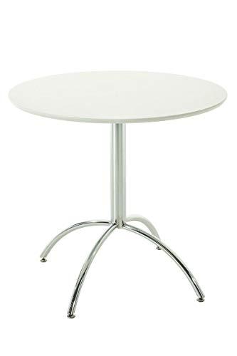 CLP Table de Bistro Ronde MARVILLE Ø 80 cm Hauteur de 75 cm Piètement en Métal Stable I Plateau de Table en Bois MDF I Table de Terrasse et BALC, Couleurs:Blanc