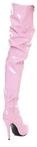Crotch Plateau Overknee High Heels schwarz,rot,pink oder weiß (42, pink)