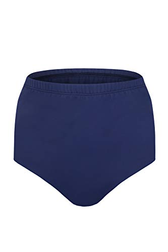 JINXUEER Women's Plus-Size High Waist Bikini Tankini Swimsuit Bottoms Vintage Swimwear (Navy, 14)
