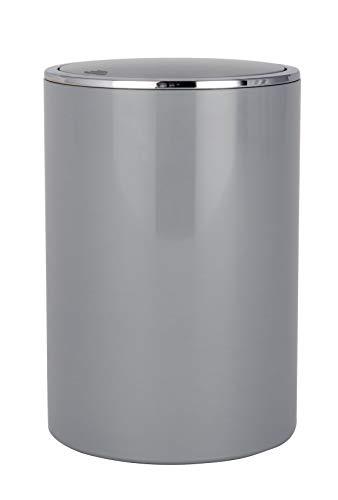 WENKO Schwingdeckeleimer Inca Grey - Abfallbehälter mit Schwingdeckel Fassungsvermögen: 5 l, Kunststoff (ABS), 18.5 x 25.5 x 18.5 cm, Grau