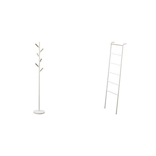 Yamazaki Home Coat Hanger, One Size, White & home Leaning Ladder Rack, White - 2812