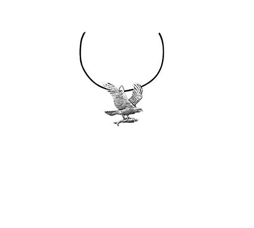 Osprey Bird PP-B10 - Collar de peltre inglés con cordón negro hecho a mano, 41 cm