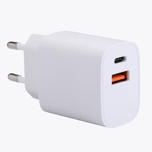 NK Cargadador de Pared - Potencia 12W, Cargador Dos Salidas USB y Tipo C, Compatible para iPhone 12 12 Pro MAX 12 Mini 11 Pro 8 7 6 iPad Pro, Cargador Móvil para Samsung Xiaomi Huawei