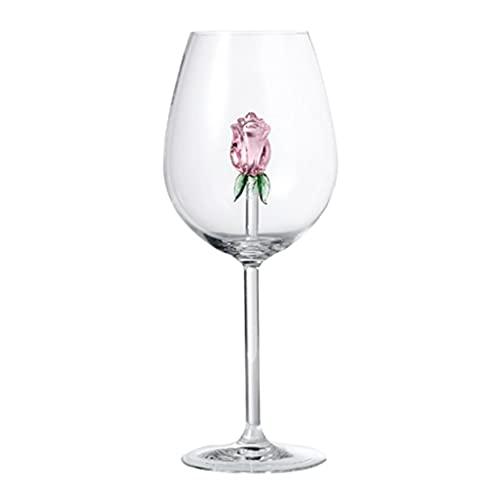 Y-POWER Copas de vino rosa con rosa dentro de copa de vino, ideal para regalos de semana para cumpleaños, boda, fiesta de Navidad