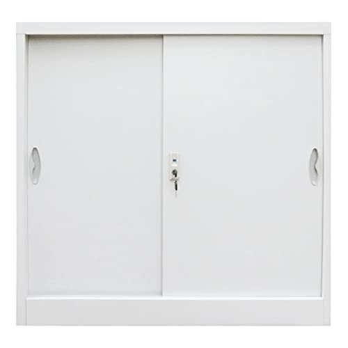 Office File Cabinet Locker Locking Large Storage Office Cabinet Metal Cabinets Home School with Sliding Doors Metal 35.4'x15.7'x35.4' Gray by paritariny