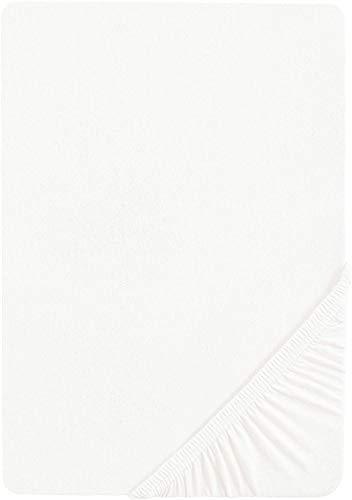 biberna 0077155 Jersey Spannbetttuch (Matratzenhöhe max. 22 cm) (Baumwolle) 140x200 cm -> 160x200 cm, weiß