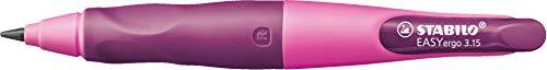 Ergonomischer Druck-Bleistift für Rechtshänder - STABILO EASYergo 3.15 in pink/lila - Einzelstift - inklusive 1 dicken Mine - Härtegrad HB & Spitzer