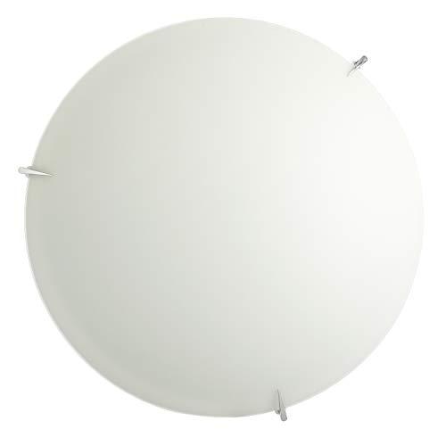 Onli - Plafón de cristal blanco satinado con ganchos cromados. Diámetro 50 cm