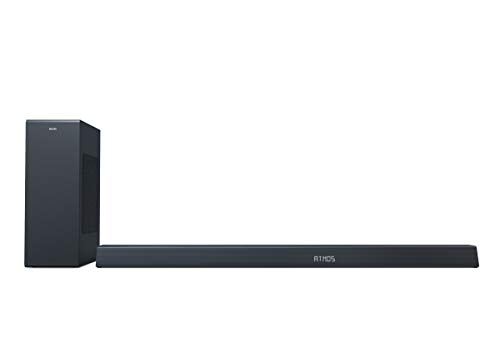 Philips B8805/10 Soundbar mit Subwoofer kabellos (3.1 Kanäle, Bluetooth, 400 W, Dolby Atmos, HDMI eARC, DTS Play-Fi kompatibel, Verbindung mit Sprachassistenten, Flaches Profil) - 2020/2021 Modell