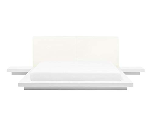 Supply24 Designer Bett Japan Stil flaches massives Futonbett Japanisches Holzbett Walnuss Optik Farbe Weiss mit Lattenrost/Lattenrahmen günstig (180x200 cm)