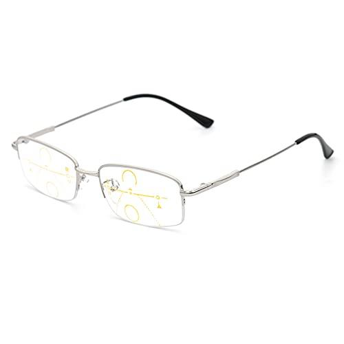 HQMGLASSES Gafas de Lectura multifocal progresiva de los Hombres, Marco de Metal Ultra Ligero 1.56 lectores de Lectura de Resina Diopter +1.0 a +3.0,Plata,+1.0