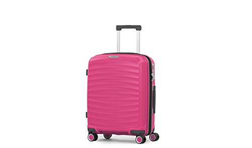 Rock Sunwave 54cm Carry On Expandable Hard Shell Suitcase Pink