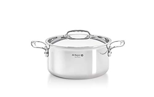 De Buyer Professional 24 cm Stainless Steel Affinity Straight Edge Sauté Pan with Lid
