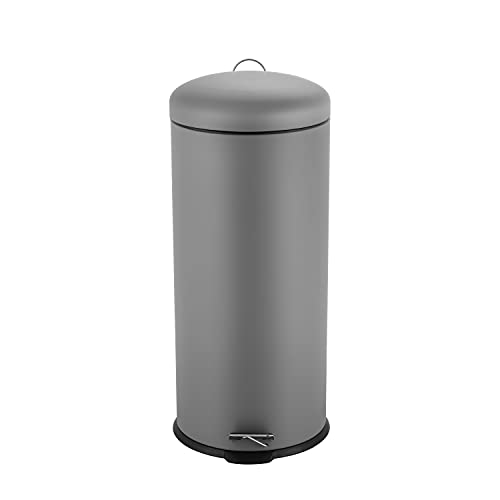 Ribelli Mülleimer aus Edelstahl - Mülltrennung Treteimer Abfalleimer Müllbehälter Papierkorb Mülltonne, rund, 30 Liter mit Inneneimer - Soft Closing (Grau)