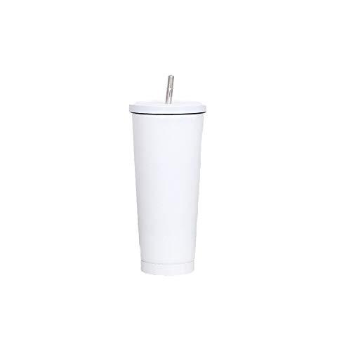 AXB Con Pajita Y Tapabotella De Agua De Boca Ancha, Vasos Reutilizables De Plástico De Doble Pared con Aislamiento De Primera Calidad (Acero Inoxidable)