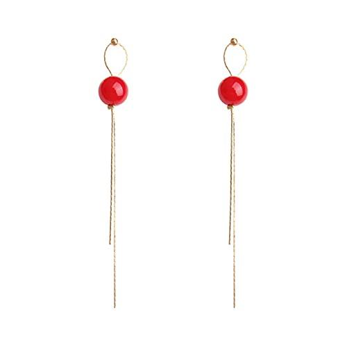 DHDHWL Pendientes Pendientes Pendientes de borla roja S925 Plata Aguja Pendientes Super Fairy Pendientes