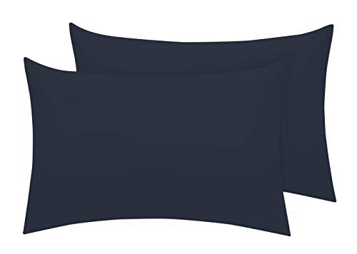 Pizuna Luxuriöser Soft-Satin 2er Pack Kissenbezug 70 x 90 cm Dunkelblau, 400 Fadenzahl Baumwolle Kissenbezüge, 100% Langstapel Baumwolle Kissenbezug (Dunkelblau, 70x90 cm)