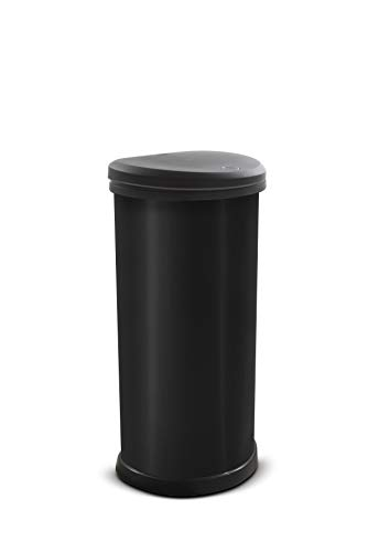 Curver Metal Effect Plastic One Touch Deco Bin, Black, 40 L
