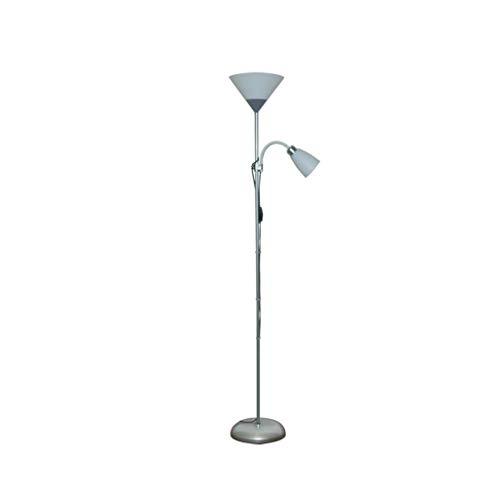 Metalen vloerlamp 2-Head Eye-Caring Vloerlamp voor Woonkamer Slaapkamer Nachtkastje Verstelbare LED Staande Lamp, Zilver 178cm 01-18
