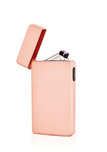 TESLA Lighter TESLA Lighter T13 Lichtbogen Feuerzeug, Plasma Double-Arc, elektronisch wiederaufladbar, aufladbar mit Strom per USB, ohne Gas und Benzin, mit Ladekabel, in edler Geschenkverpackung Pink Rosa
