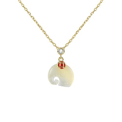 YAZHUANG8 925 Silver Pewality Elephant Necklace Lindo para Entender la Forma Colgante juguetón Colgante Colgante Collar