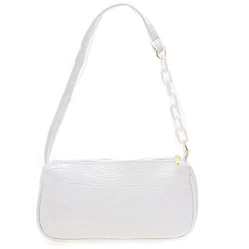 Briskorry Bolso de mano para mujer de estilo retro, de piel de cocodrilo, vintage, pequeño bolso de hombro, bolso de hombro beige, bolso pequeño para mujer, Blanco, Talla única