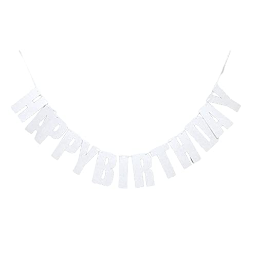 YUANMAO Birthday Bunting,Birthday Banners spell Letter Happy Birthday,for Home or Garden Birthday Party Bunting Slivery 2