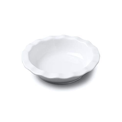 Wm Bartleet & Sons Plat à tarte rond en porcelaine avec bord cranté, blanc, 16 cm