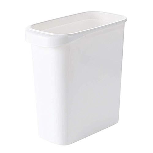 Schmaler schlanker Mülleimer aus Polypropylen, quadratischer Abfalleimer ohne Deckel, Papierkorb, Lückenaufbewahrung, Mülltonnenhalter (weiß)
