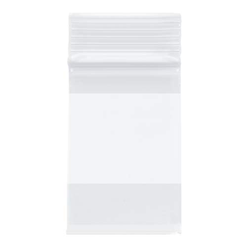 Plymor Heavy Duty Plastic Reclosable Zipper Bags w/White Block, 4 Mil, 2″ x 3″ (Pack of 200)