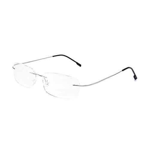 Joyside Rimless Frameless Titanium Frame Light Reading Glasses Spring Hinge Reader for Men Women 61(Silver,+2.50)
