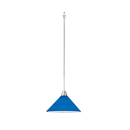 WAC Lighting QP-LED512-BL/BN Jill Quick Connect LEDme Pendant with Blue Shade and Brushed Nickel Socket Set