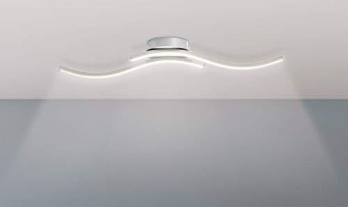 Trango 2-flammig LED Deckenleuchte in Wellen Form, Badleuchte, Wandleuchte TG3159 incl. 2x 5 Watt LED Modul Leuchtmittel 3000K warmweiß direkt 230V Deckenlampe, Wohnzimmer Lampe, Deckenstrahler