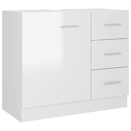 vidaXL Waschbeckenunterschrank Waschtisch Unterschrank Badmöbel Badschrank Badezimmerschrank Badezimmer Hochglanz-Weiß 63x30x54cm Spanplatte