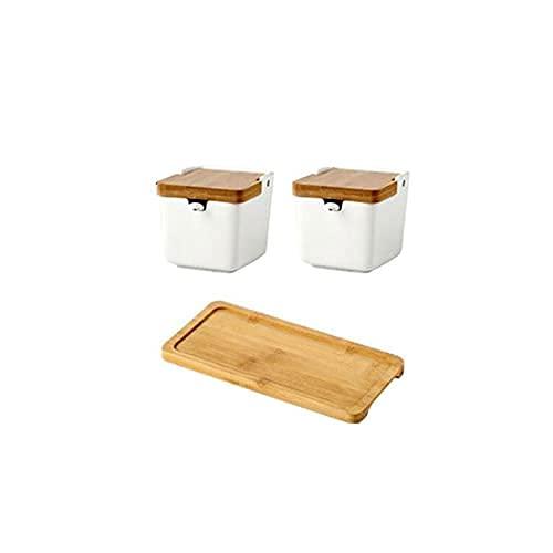 Spice-box keramische kruiderij pot kruidencontainer,met bamboe deksel,porseleinen lepel,houten dienblad,Kleur:wit,kan…