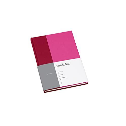 Semikolon (364827) Notizbuch A5 Cutting Edge liniert Raspberry - Fuchsia mit Bucheineneinband, 172 FSC-zertifizierte Seiten Elafin-Papier und Lesezeichen