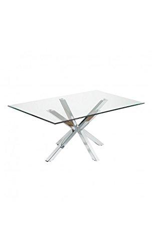 CAMINO A CASA - Table à Manger rectangulaire 180 cm Verre et Chrome Idol