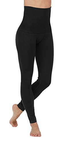 PRO FIT Fleece Lined Leggings High Waist Compression Cotton French Terry (Large-X-Large Plus, 548CT-Black)
