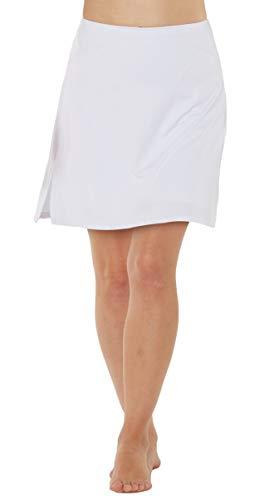 Westkun Damen Bescheiden Tennisrock Golfrock Arbeit Laufh Skort mit Innenhose Sport Hosenrock(Weiß Neu,XL)