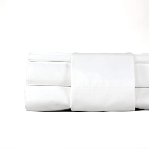 THOMAS LEE 500 Thread-Count Percale, US-Grown Pima Cotton, Classic White, Bed Sheets & Pillowcases Set - White Queen Sheet Set for Bed