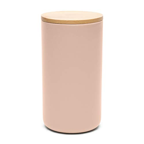 Waggo Simple Solid Ceramic Cookie Jar Or Pet Treat Jar - Modern Ceramic Airtight Jar With Lid For Your Modern Kitchen (Rose)