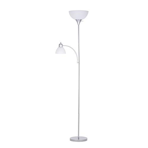 Brightech Eclipse Modern Led Torchiere Floor Lamp Very High Brightness Indoor Lamp Living Room Standing Light Alternative To Halogen Built In Touch Dimmer Silver Amazon Com